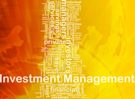 marketers: Background concept wordcloud illustration of investment management international