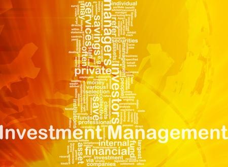 Background concept wordcloud illustration of investment management international illustration