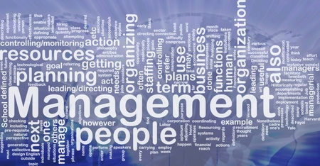 deciding: Background concept wordcloud illustration of management international Stock Photo