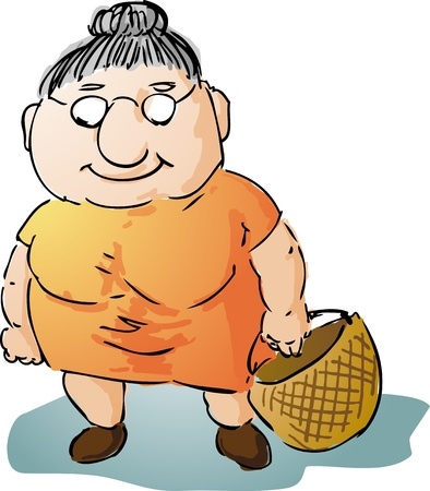 Fat motherly old woman with shopping bag illustration  illustration