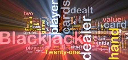 blackjack: Background concept wordcloud illustration of blackjack gambling game  glowing light