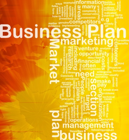Achtergrond concept wordcloud illustratie van de internationale business plan Stockfoto