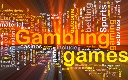 wager: Background concept wordcloud illustration of gambling betting gaming glowing light
