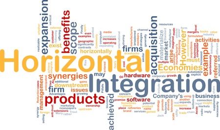 integrated: Background concept wordcloud illustration of business horizontal integration Stock Photo