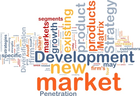 penetracion: Ilustración de wordcloud concepto de fondo de desarrollo de nuevos mercados