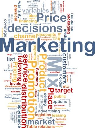 Achtergrond concept wordcloud illustratie van marketing mix strategie