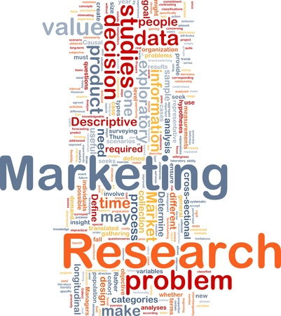 marketing research: Background concept wordcloud illustration of marketing research strategy Stock Photo