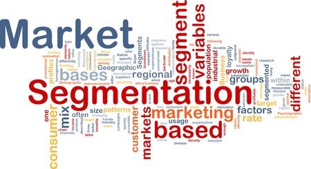 Achtergrond concept wordcloud illustratie van zakelijke marktsegmentatie