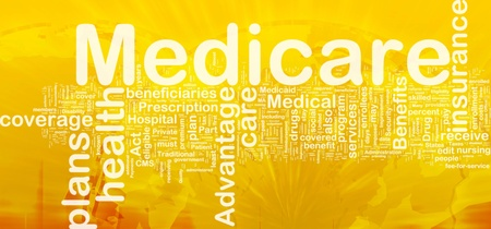 nursing care insurance: Background concept wordcloud illustration of medicare international Stock Photo