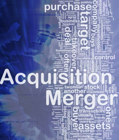 mergers: Background concept wordcloud illustration of merger acquisition international