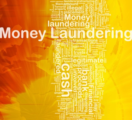 laundering: Background concept wordcloud illustration of money laundering international