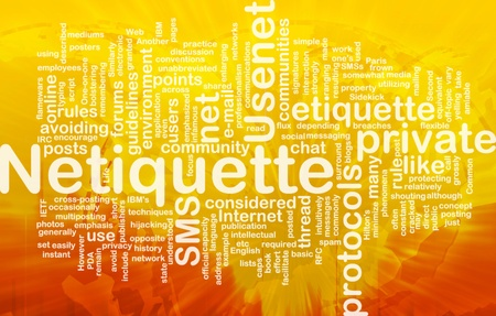 Background concept wordcloud illustration of netiquette international Standard-Bild