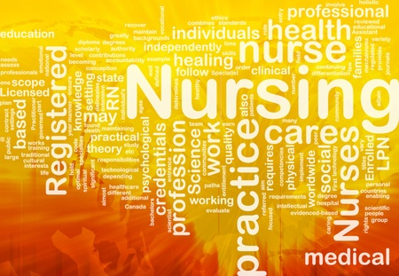 credentials: Background concept wordcloud illustration of nursing international