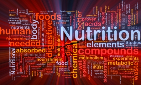 Background concept wordcloud illustration of nutrition food health glowing light Stock Illustration - 10012059