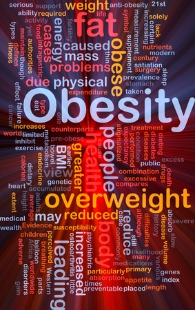 heart problems: Background concept wordcloud illustration of obesity fat overweight glowing light Stock Photo