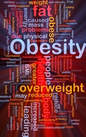 enfermedades del corazon: Wordcloud concepto de fondo la ilustraci�n de la obesidad grasa luz brillante con sobrepeso Foto de archivo