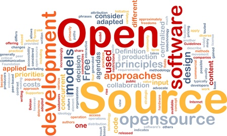 open source: Background concept wordcloud illustration of open source license