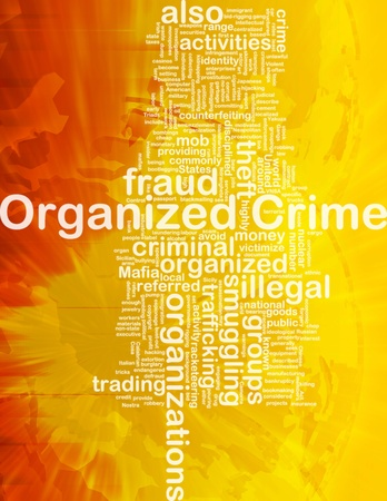 organized crime: Background concept wordcloud illustration of organized crime international