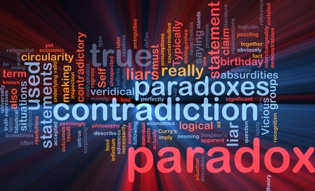 Background concept wordcloud illustration of Paradox contradiction glowing light Stock Photo
