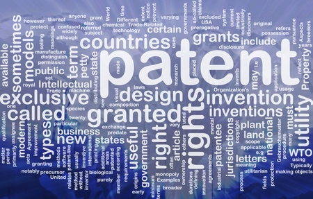 certain: Background concept wordcloud illustration of patent international Stock Photo