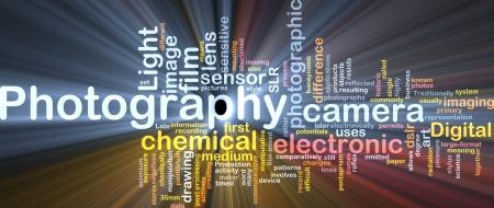 Achtergrond concept illustratie van de digitale camera fotografie gloeiende licht Stockfoto