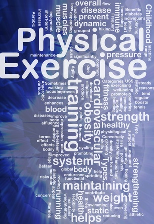 childhood obesity: Background concept wordcloud illustration of physical exercise international Stock Photo