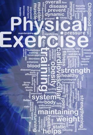 obesidad infantil: Ilustraci�n de wordcloud concepto de fondo de ejercicio f�sico internacional