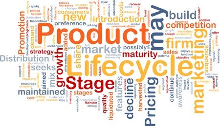Achtergrond concept wordcloud illustratie van zakelijke levenscyclus van een product Stockfoto
