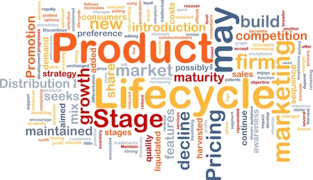 business products: Background concept wordcloud illustration of business product lifecycle