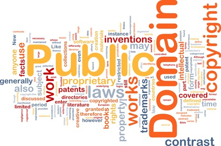 Background concept wordcloud illustration of public domain work   illustration