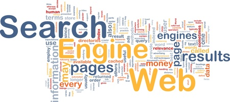 Background concept wordcloud illustration of internet search engine Stock Illustration - 10012023