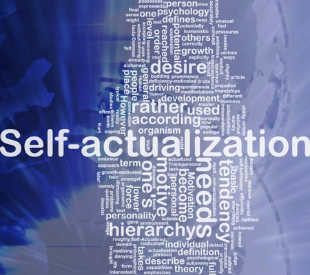 according: Background concept wordcloud illustration of self-actualization international Stock Photo