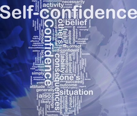 believing: Background concept wordcloud illustration of self-confidence international