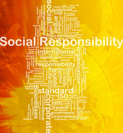 outcry: Background concept wordcloud illustration of social responsibility international Stock Photo