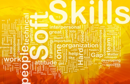 abilities: Background concept wordcloud illustration of soft skills international Stock Photo