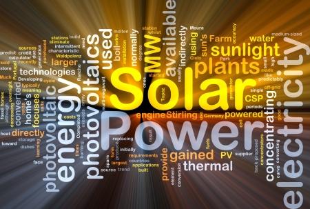 Achtergrond concept illustratie van zonne-energie-energie gloeiende licht Stockfoto