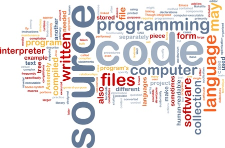 Background concept wordcloud illustration of source code programming Stock Illustration - 10012041