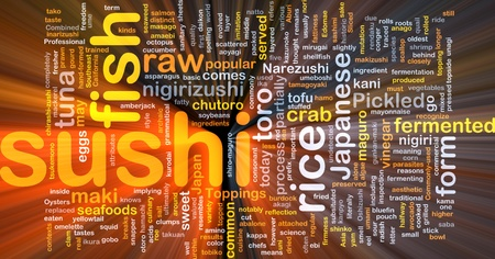 neon fish: Background concept illustration of sushi japanese food glowing light effect