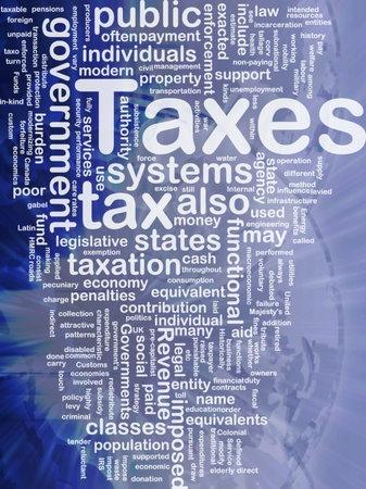 taxation: Background concept wordcloud illustration of taxes international