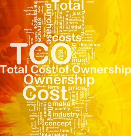 Achtergrond concept wordcloud illustratie van total cost of ownership internationale