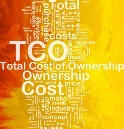 total: Background concept wordcloud illustration of total cost of ownership international