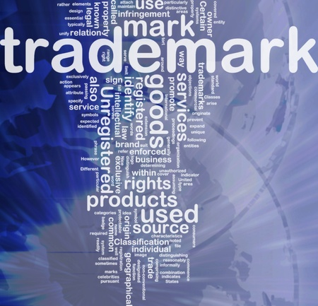 Background concept wordcloud illustration of  trademark international illustration