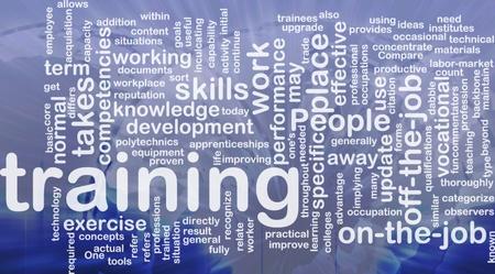 training: Achtergrond concept wordcloud illustratie van de opleiding internationale Stockfoto
