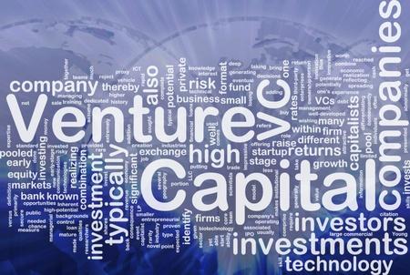 Achtergrond concept wordcloud illustratie van venture capital internationale Stockfoto