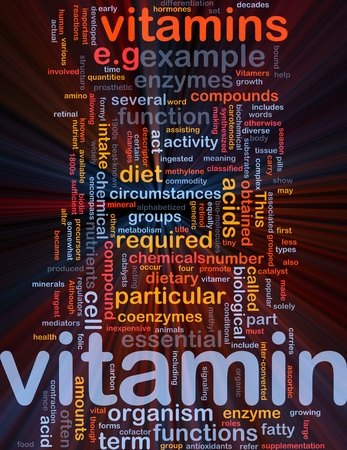 nutrients: Background concept wordcloud illustration of vitamnins health nutrients glowing light Stock Photo