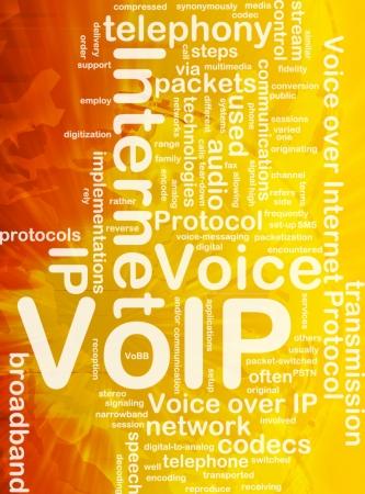 Background concept wordcloud illustration of VoIP international illustration