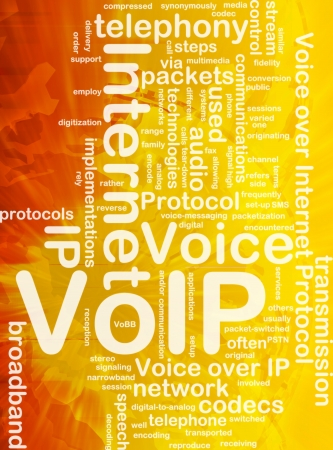 Background concept wordcloud illustration of VoIP international Stock Photo