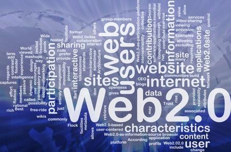 characteristics: Background concept wordcloud illustration of web 2.0 international