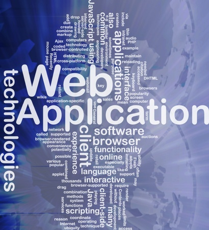 java script: Background concept wordcloud illustration of web application international