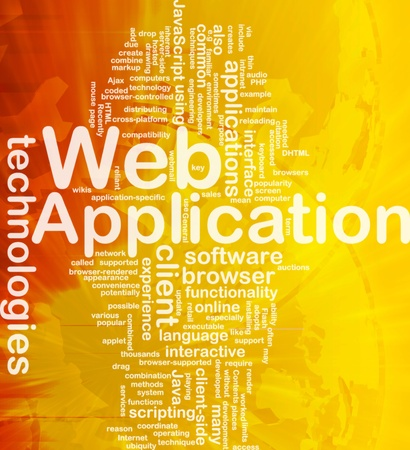 web application: Illustrazione di wordcloud sfondo concetto di applicazione web internazionale